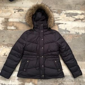 Black down puffer coat w/removable fur lined hood